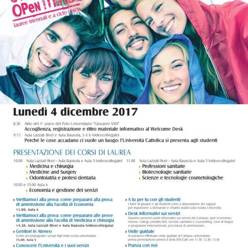 Università Cattolica – Open Day lunedì 4 dicembre