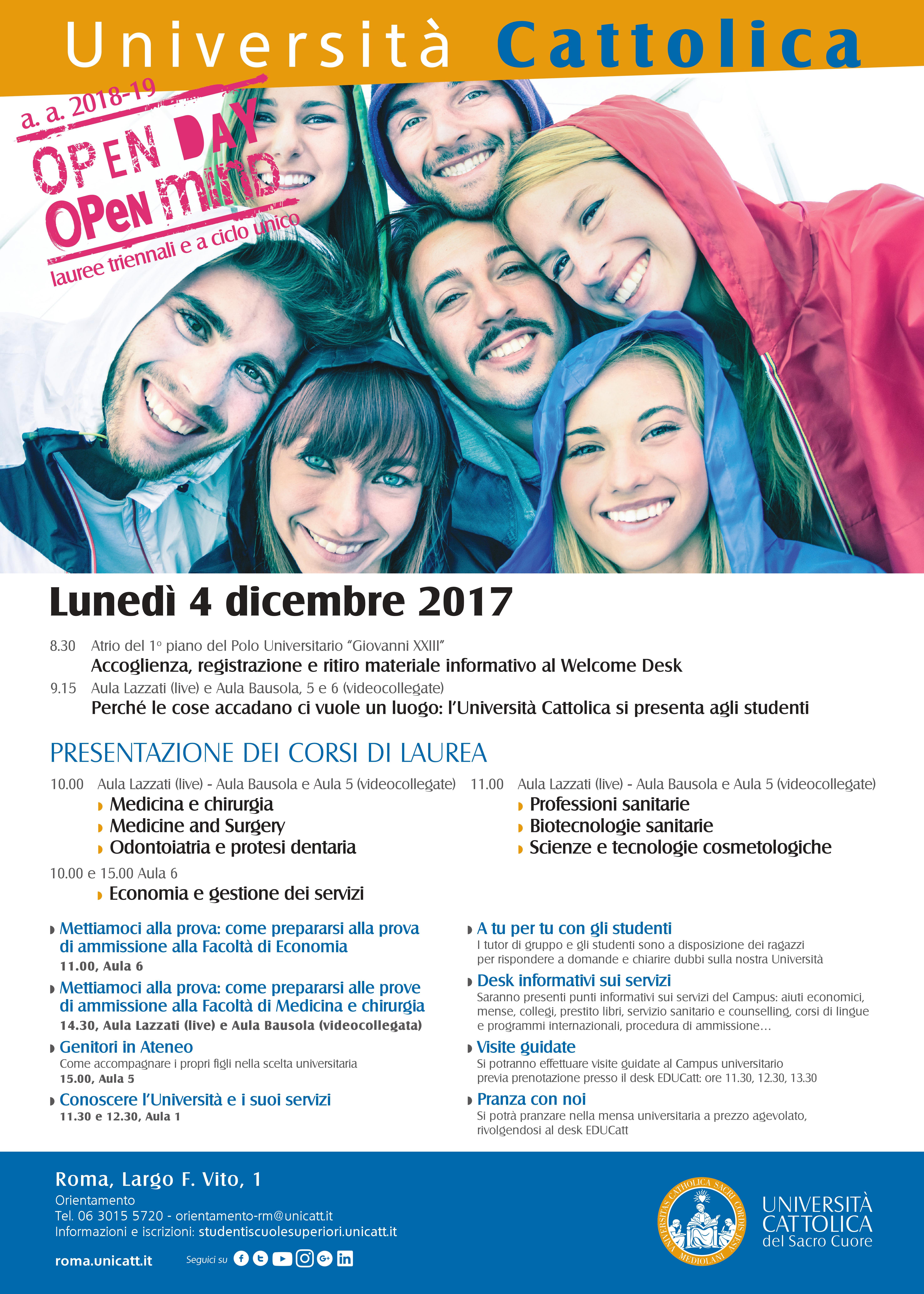 Calendario Lezioni Unicatt.Universita Cattolica Open Day Lunedi 4 Dicembre Liceo