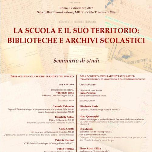 """ASL – """"Il Mestiere dello Storico"""" – 12 dicembre – seminario """"LA SCUOLA E IL SUO TERRITORIO: BIBLIOTECHE E ARCHIVI SCOLASTICI"""""""